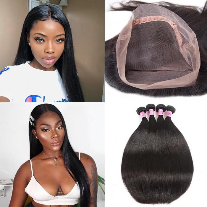 UNice Hair Icenu Series 4 Bundles Virgin Straight Hair With 360 Lace Frontal Closure