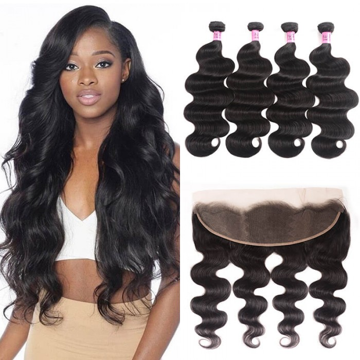 UNice Hair Icenu Series Unprocessed Frontal Lace Closure With 4pcs Body Wave Virgin Hair Bundles