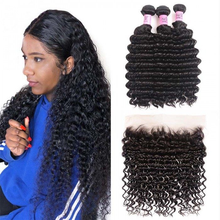 UNice Hair Icenu Series 3pcs Deep Wave Hair Weft With Lace Frontal