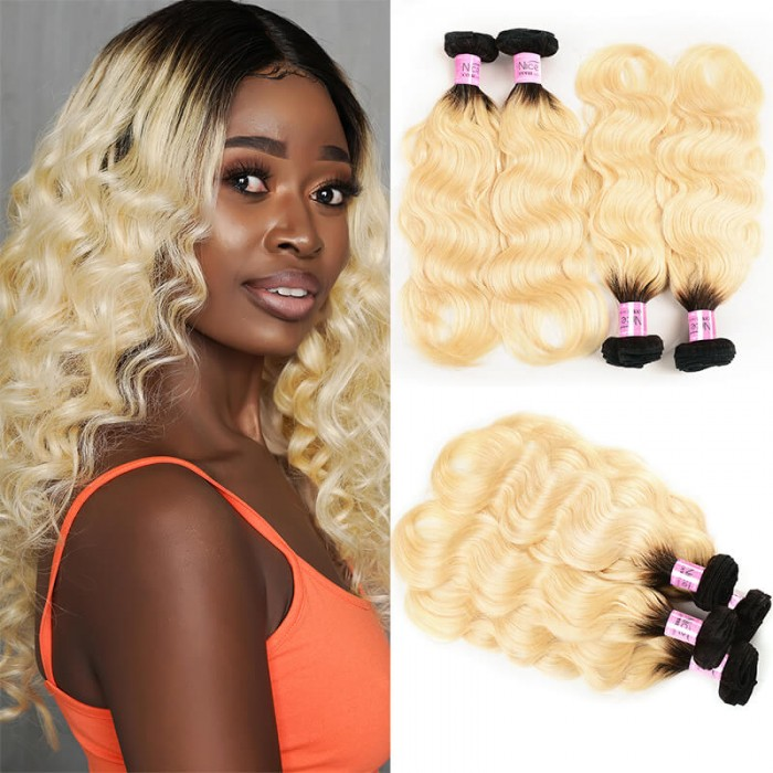 UNice 4 Bundles T1b/613 Ombre Blonde Hair 100% Virgin Human Hair Body Wave Hair Weave