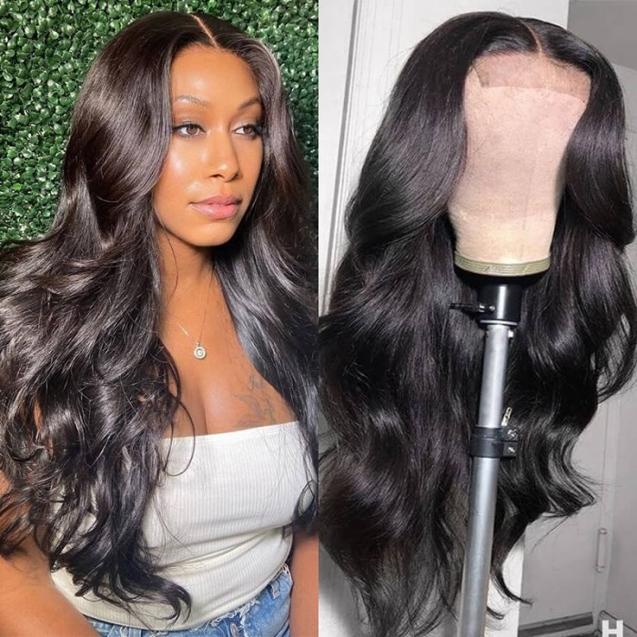 16inch Body Wave Closure Human Virgin Hair Wig for Women 150% Density Hand Tied Lace Hair Part Line Realistic Wigs Bettyou Series