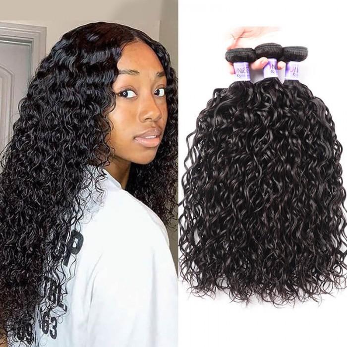 UNice 3 Bundles Brazilian Water Wave Virgin Human Hair Kysiss Series