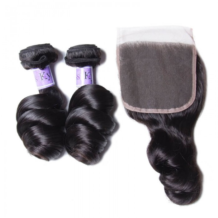 UNice Hair Kysiss Series Good Quality 3pcs Indian Loose Wave Virgin Hair With Closure