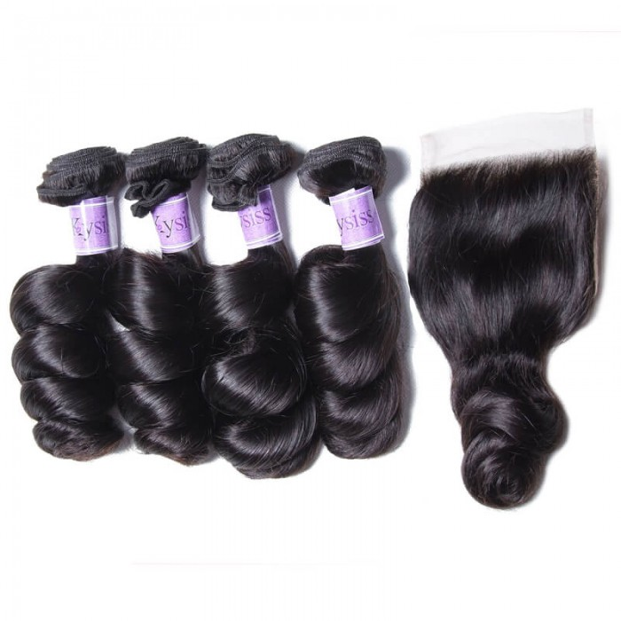 UNice Hair Kysiss Series Quality Brazilian Loose Wave Virgin Hair 4 Bundles With Closure