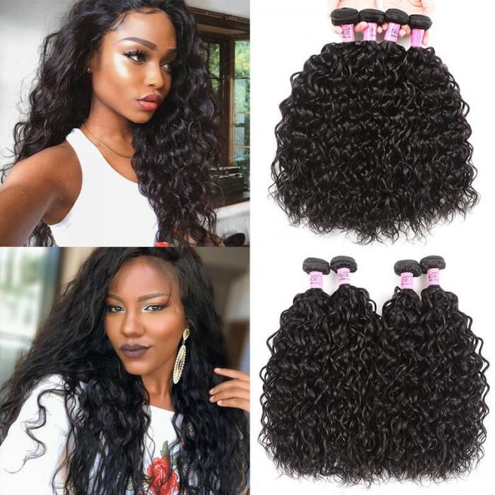 UNice Hair Icenu Series Hair 4 Bundles Water Wave Virgin Hair With 4x4 Inch Lace Closure Free Part Closure