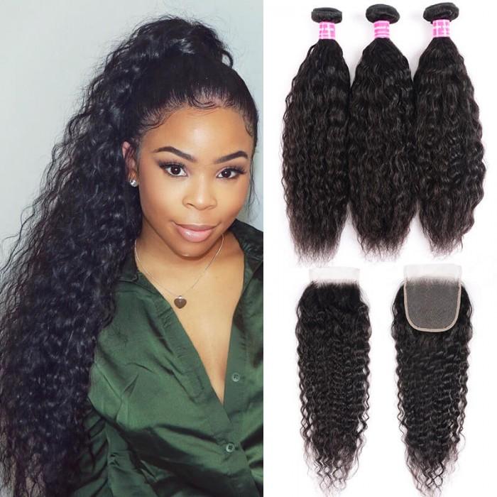 Unice Hair Icenu Series Super Wave Human Hair 3 Bundles With Lace Closure 4x4 Peruvian Virgin Hair Weave