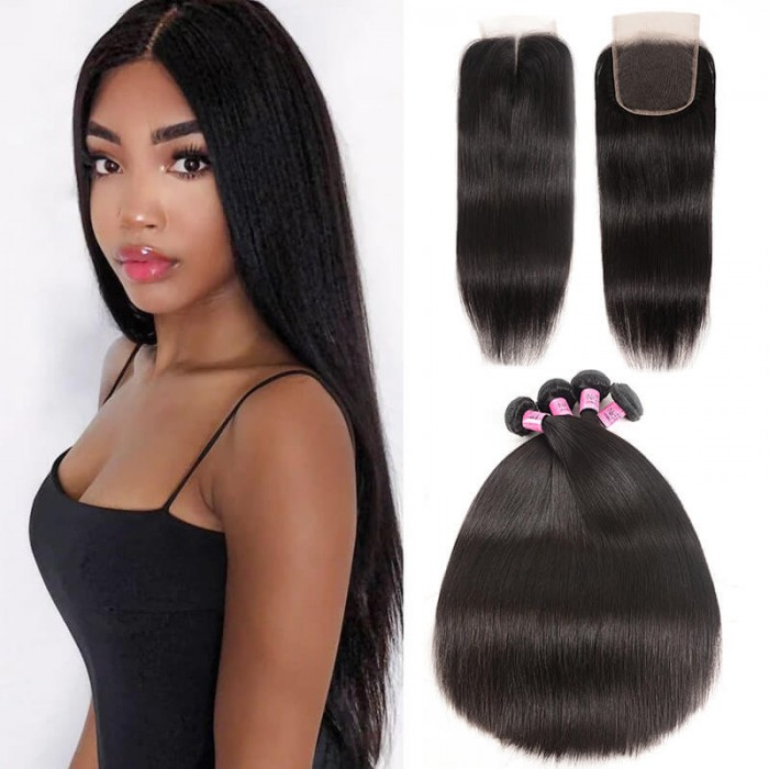 UNice Hair Icenu Series 4pcs Brazilian Straight Virgin Hair With Lace Closure