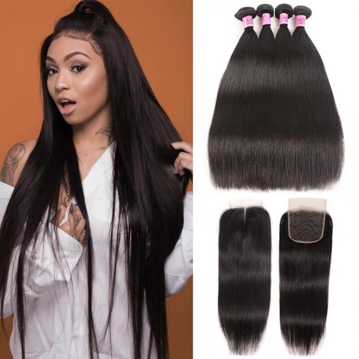 UNice Hair Icenu Series Peruvian Straight Virgin Hair With Closure 4 Thick Bundles