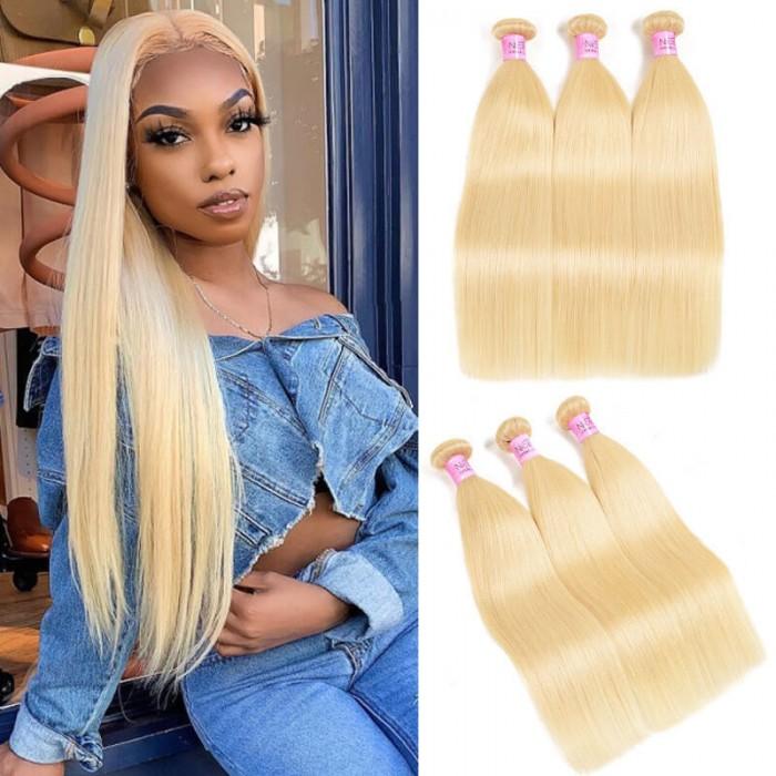 UNice Hair 613 Blonde Virgin Human Hair Extension Bundles 10-24 Inch 3PCS Straight Hair