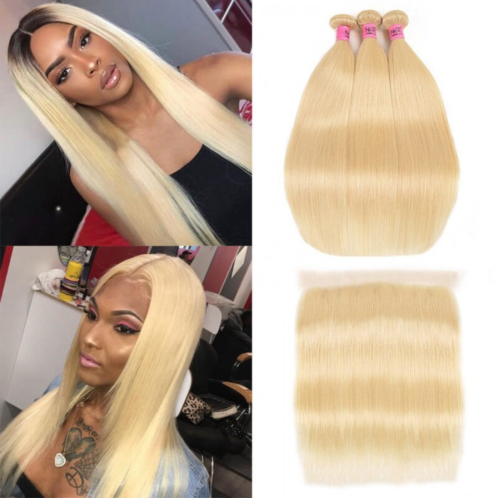 UNice Virgin Hair Extension 3PCS 16-24 Inch 613 Blonde Straight Hair With Lace Frontal