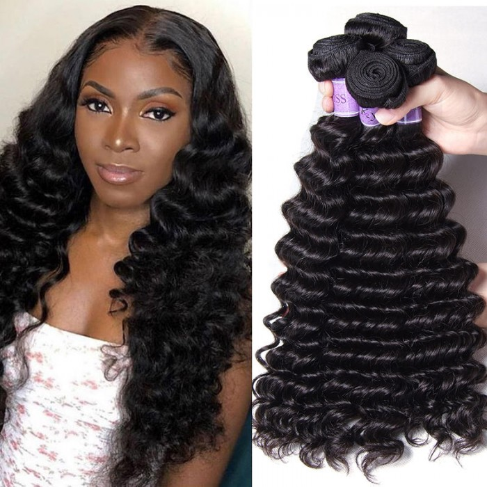 UNice Unprocessed Indian Deep Wave Virgn Hair 4 Pcs/pack Products Kysiss Series