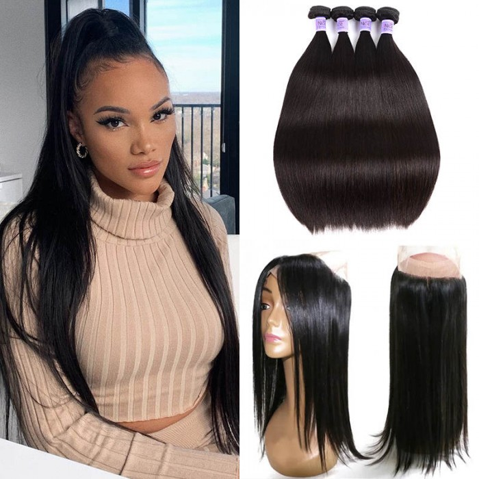 UNice Hair Kysiss Series Straight Virgin Hair 4 Bundles With 360 Lace Frontal