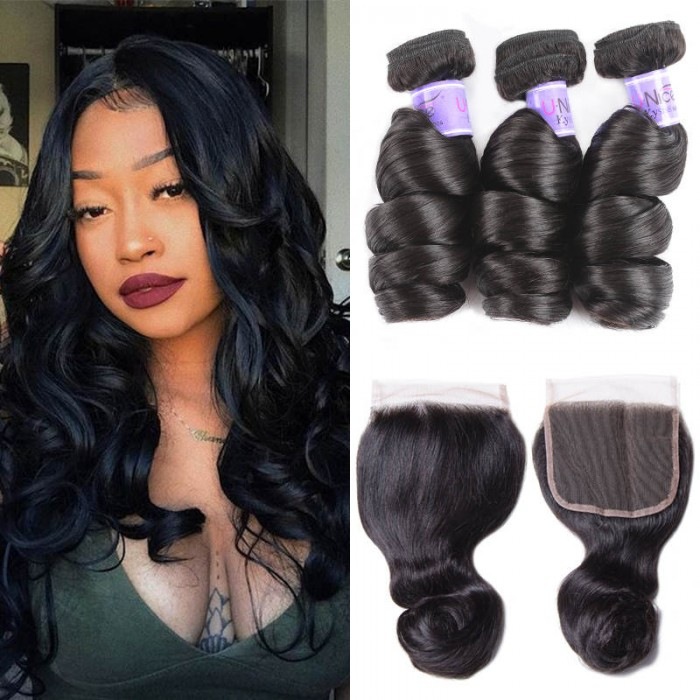 UNice Hair Kysiss Series Brazilian 3 Bundles Loose Wave With Lace Closure
