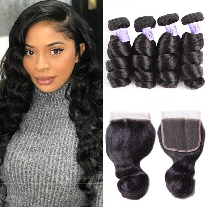 UNice Hair Kysiss Series Good 4 Bundles Malaysian Loose Wave Hair With Lace Closure