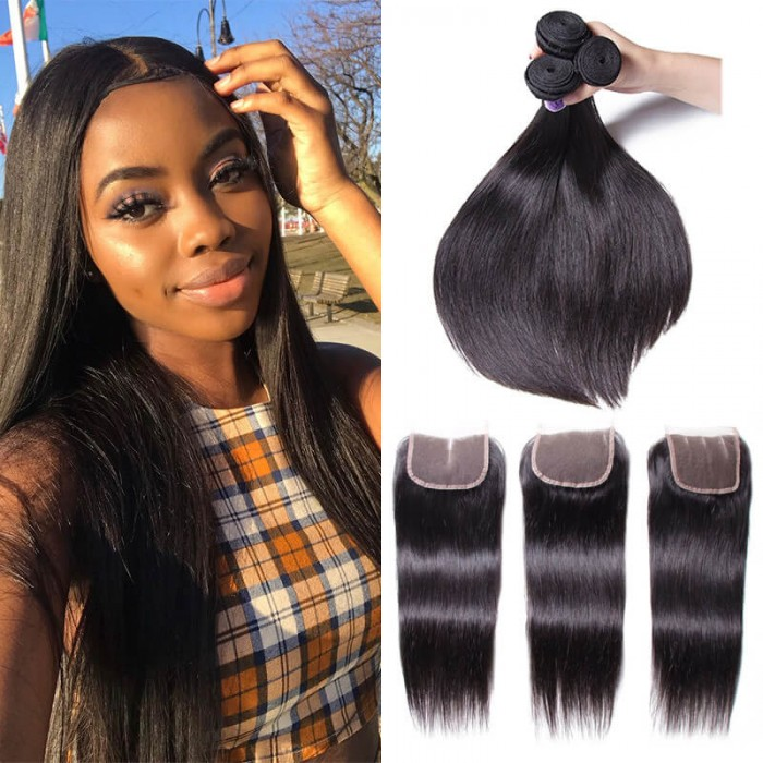 UNice Hair Kysiss Series 100% Malaysian Straight Virgian Hair 3 Bundles With Closure
