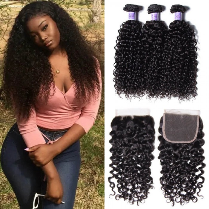 UNice Hair Kysiss Series Brazilian Jerry Curly Hair 3 Bundles with Lace closure