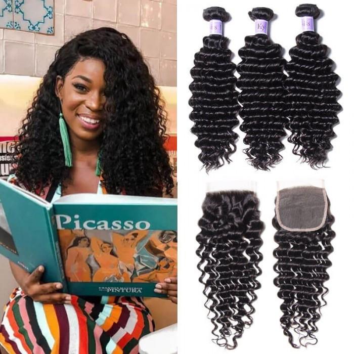 UNice Hair Kysiss Series Brazilian 3 Bundles Deep Wave With Lace Closure