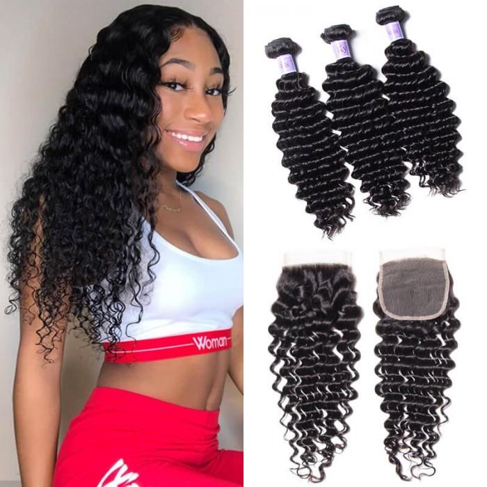 UNice Hair Kysiss Series Indian Human Hair Deep Wave 3 Bundles With Closure