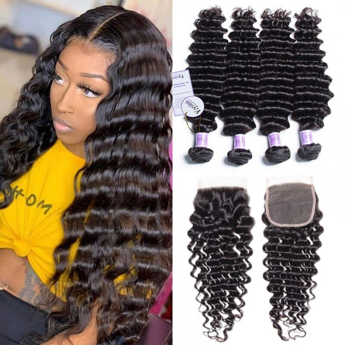 UNice Hair Kysiss Series Peruvian 4 Bundles Deep Wave Virgin Hair With Lace Closure