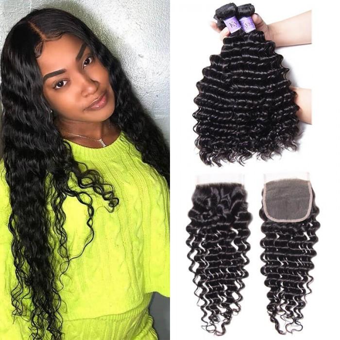 UNice Hair Kysiss Series Indian Human Hair 4 Bundles Deep Wave With Closure