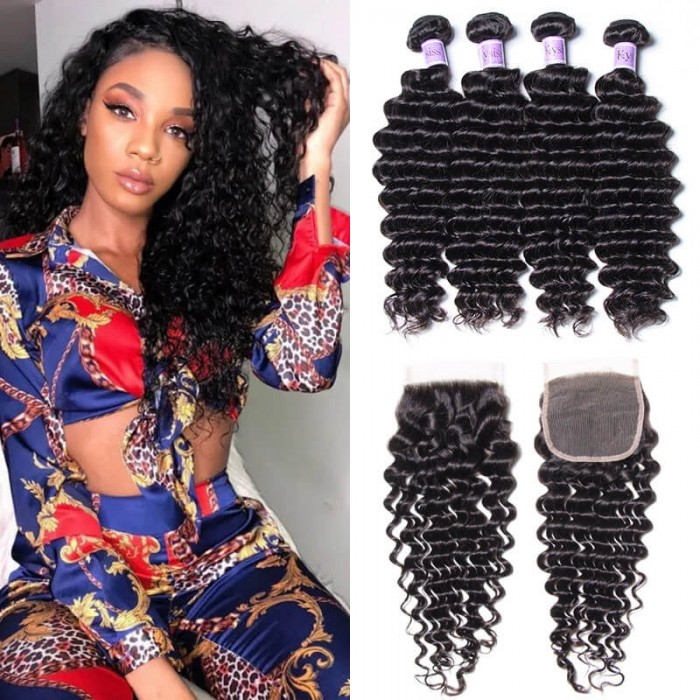 UNice Hair Kysiss Series Good 4 Bundles Malaysian Deep Wave Hair With Closure