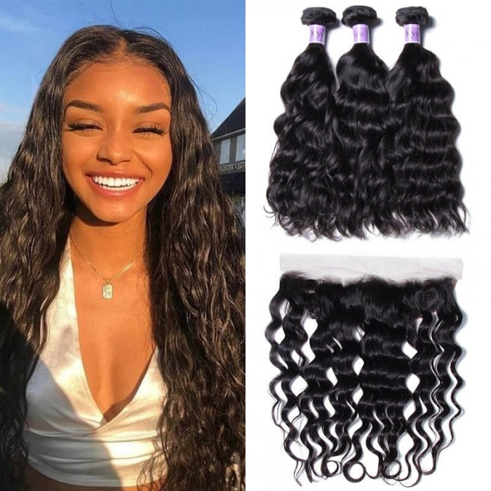 UNice Hair Kysiss Series 3 Bundles Natural Wave Human Hair With Lace Frontal Closure