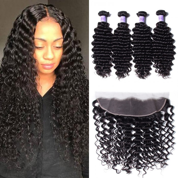 UNice Hair Kysiss Series 4pcs Deep Wave Human Virgin Hair With Lace Frontal