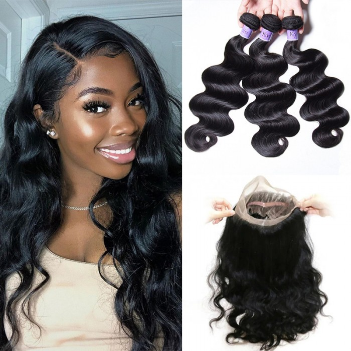 UNice Hair Kysiss Series 3 Bundles Body Wave Virgin Hair With 360 Lace Frontal