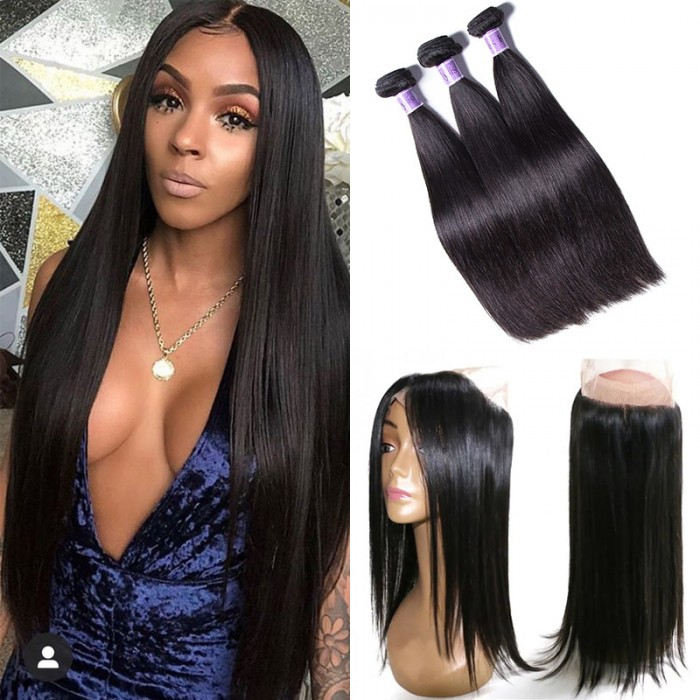 UNice Hair Kysiss Series 3 Bundles Straight Virgin Hair With 360 Lace Frontal Closure