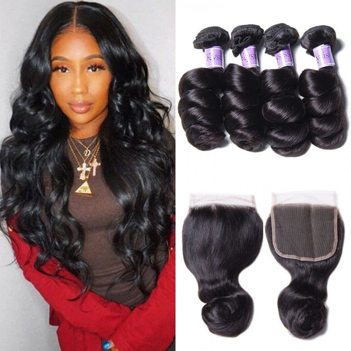 UNice Hair Kysiss Series Indian Loose Wave Human Hair 4 Bundles With Lace Closure