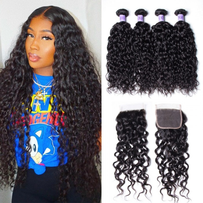 UNice Hair Kysiss Series Brazilian Water Wave 4 Bundles Vrigin Hair Extension With Closure
