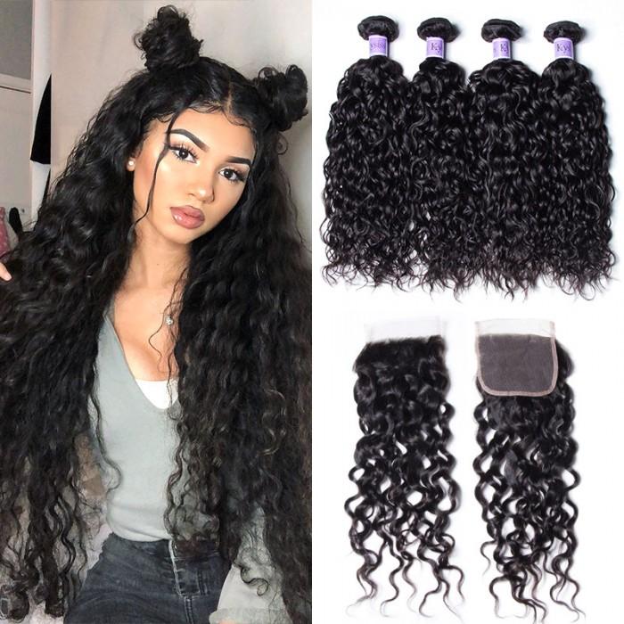 UNice Hair Kysiss Series Malaysian Water Wave Product Human Hair 4 Bundles With Closure