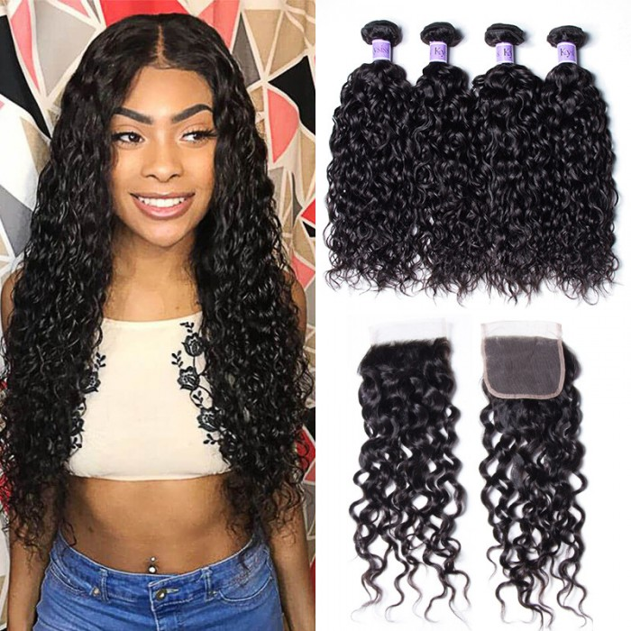 UNice Hair Kysiss Series Virgin+ Peruvian Water Wave 4 Bundles Products With Lace Closure