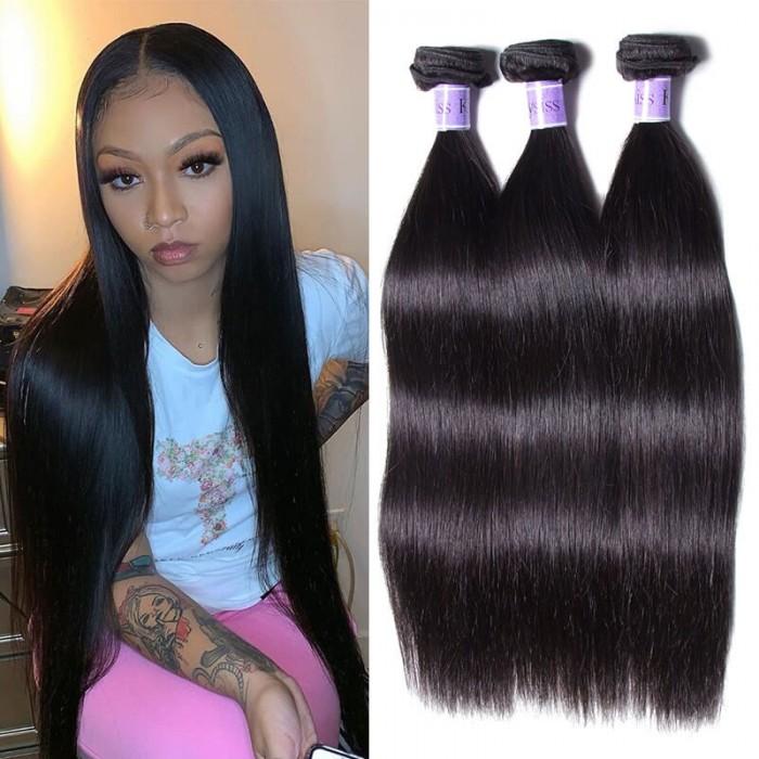 UNice Peruvian Straight Hair Weft 3 Bundles Virgin+ Hair Kysiss Series
