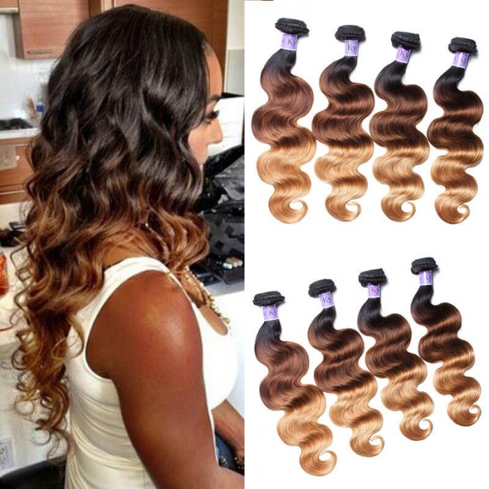 UNice Hair Kysiss Series 4 Bundles T1B/4/27 Ombre Body Virgin Human Hair