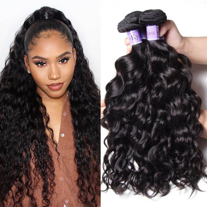 UNice Hair Kysiss Series Virgin+ Natural Wave Weft 3 Bundles Peruvian