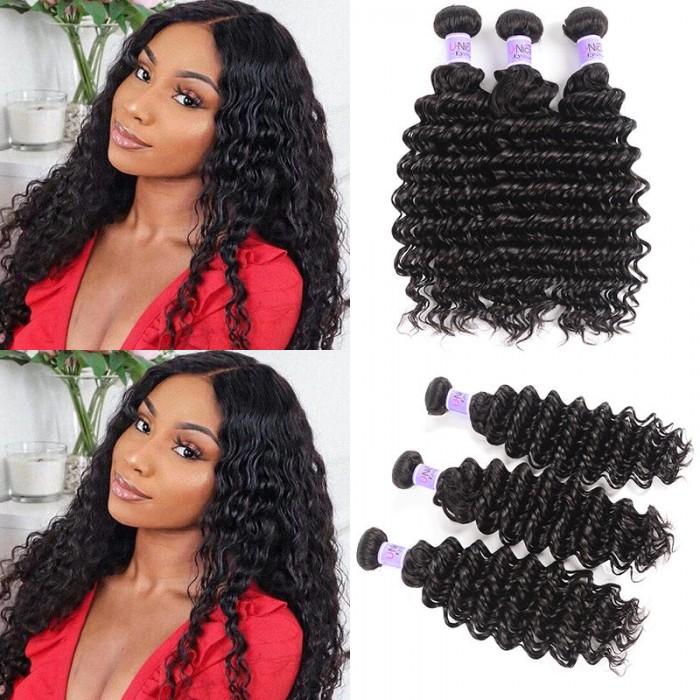 UNice Hair Kysiss Series Brazilian Deep Wave Product 3 Bundles Virgin+ Hair