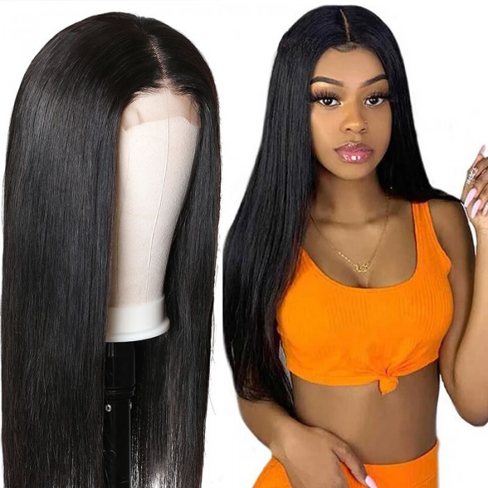 UNice Straight Human Hair 4x4 Lace Closure Wig Natural Black Human Hair Lace Wigs for African American Women Bettyou Series
