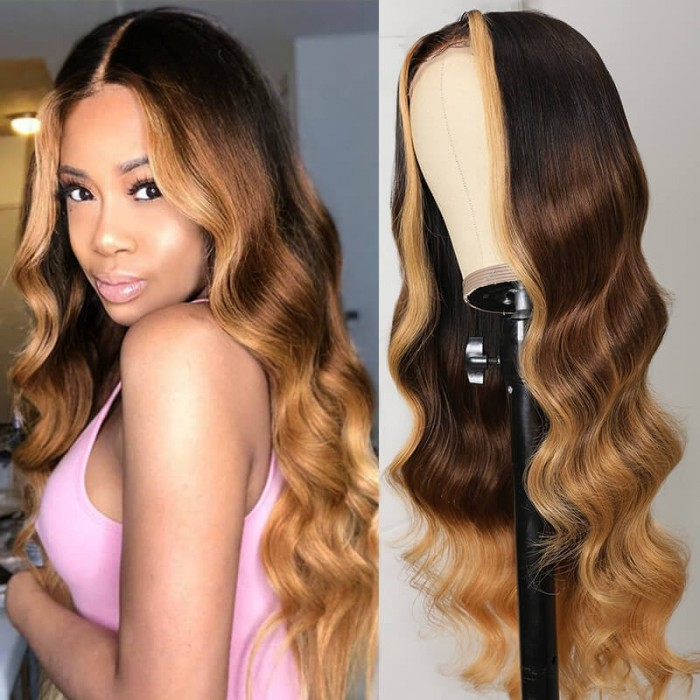 Face Framing Blonde Ombre Highlight Body Wave Middle Part Lace Wig 150% Density