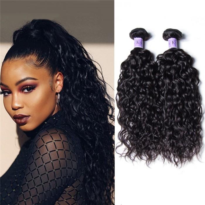 Unice 3 Bundles Brazilian Water Wave Virgin Human Hair With Lace