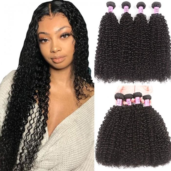 UNice Hair 4 Bundles Kinky Curly Unprocessed Virgin Hair