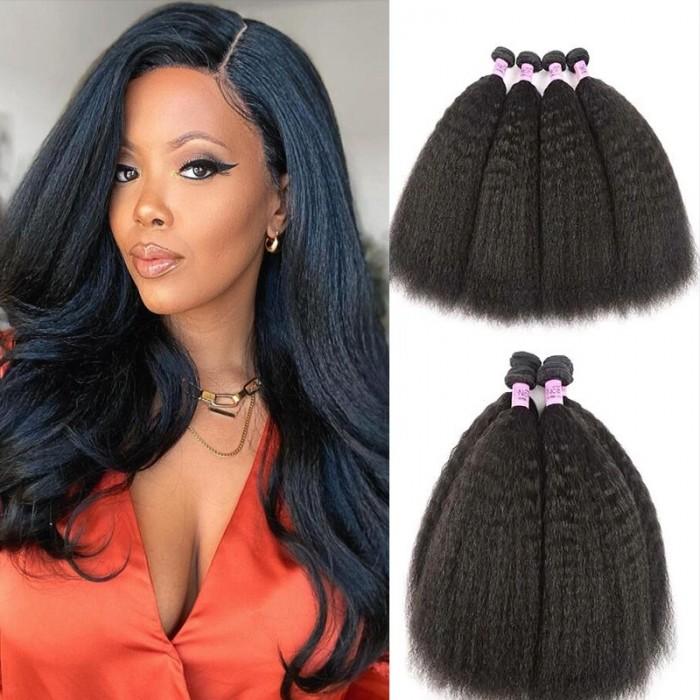 UNice Hair 4 Bundles Kinky Straight Unprocessed Virgin Human Hair