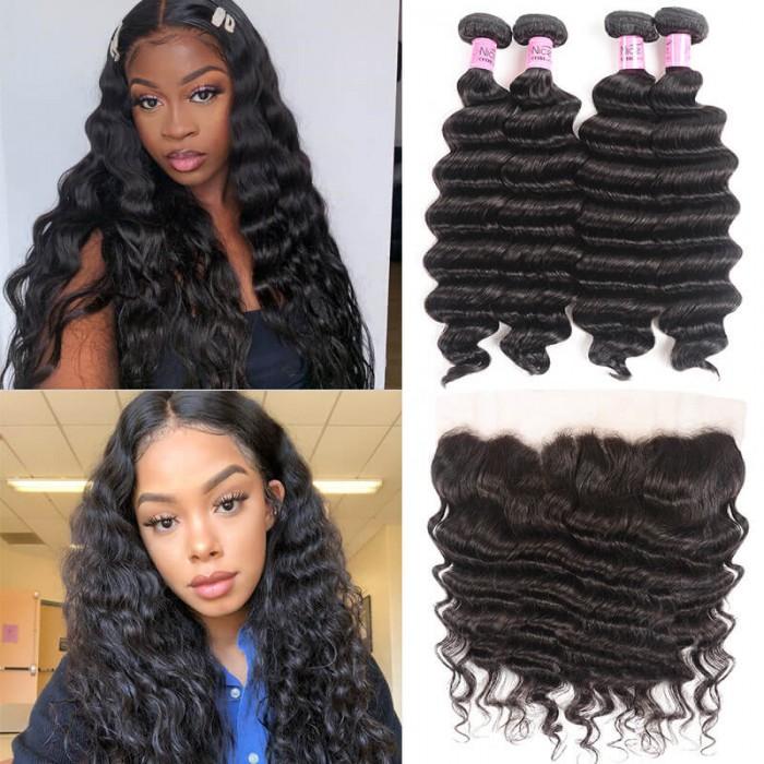 UNice Hair Icenu Series 4 Bundles Loose Deep Wave Human Hair With 13x4 Frontal On Sale