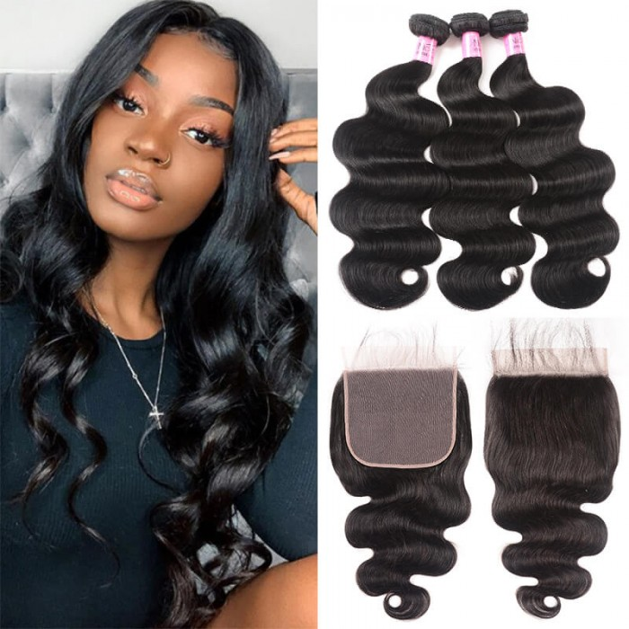 UNice Hair Icenu Series Peruvian Human Hair 3 Bundles With Lace Closure 7X7 Body Wave Bundles With Lace Closure Virgin Hair Extensions