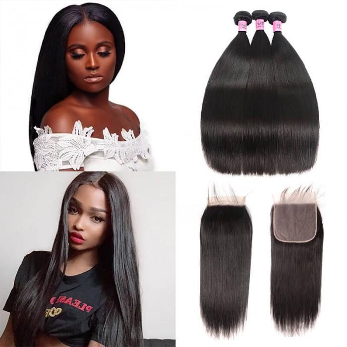 UNice Hair Icenu Series 100% Human Hair Bundles With Closure 7x7 Peruvian Straight Hair Weave 3 Bundles Natural Black Virgin Hair Extensions