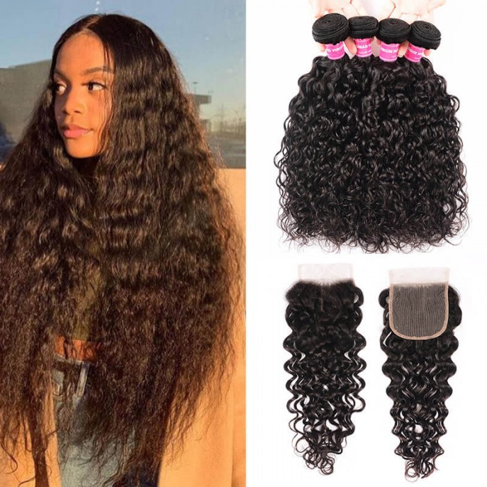 Unice Hair Icenu Series Brazilian Virgin Hair 4 Bundles Natural Loose Water Wave Hair Weft With Closure 4x4