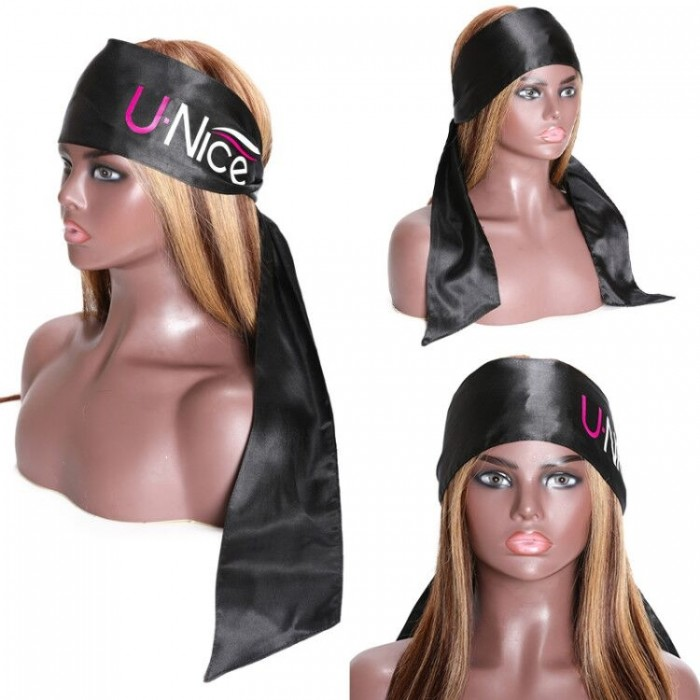 UNice Edge Wrap for Black Hair-Satin Edge Laying Scarf for Lace Frontal Wigs-Wigrip- Soft Women's Satin Headband for Makeup, Facial,Sport,Yoga (Black 1 piece)