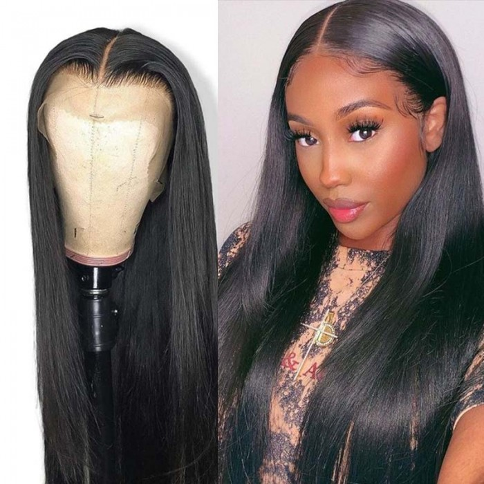 UNice 13x4 Straight 100% Human Hair Lace Front Wigs for Black Women 180% Density Glueless Lace Frontal Wig Pre Plucked with Baby Hair Bettyou Series