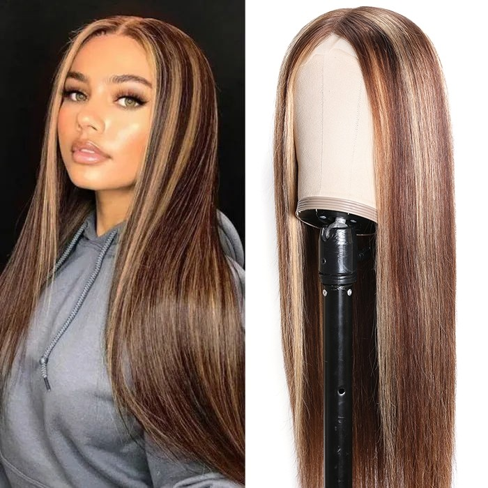 FLASH DEAL: Middle Part Lace Straight Hair Wigs 150% density Blonde Wig Brown Highlight Wig No Glue Needed