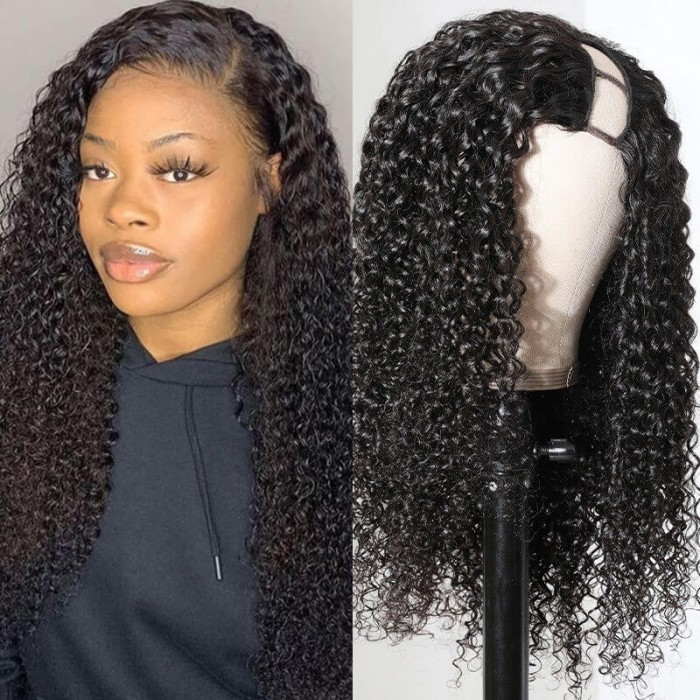 Unice Hair Curly Human Hair Wig U Part Wig Human Hair Wigs Brazilian Remy Hair 150 Density Left Side Part Wigs Pre Plucked For Women Bettyou Series